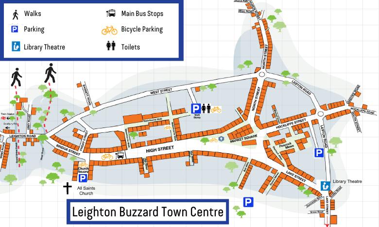 Leighton Buzzard Town Centre Map